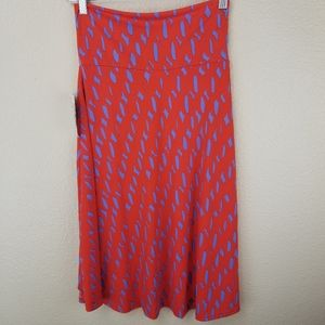 LuLaRoe Azure Orange Purple Geometric Skirt XS